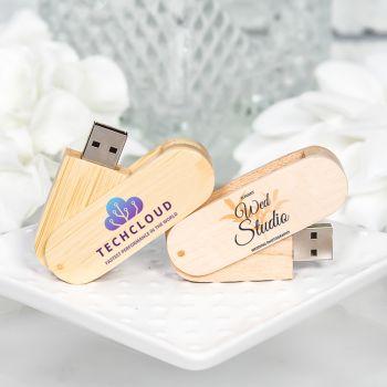Custom Wood Swivel USB Flash Drives
