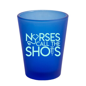 1.75 Oz Frosted Light Blue Shot Glass with Mint Imprint Color