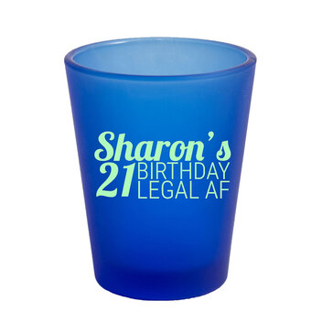 1.75 Oz Frosted Blue Shot Glass with Mint Imprint Color