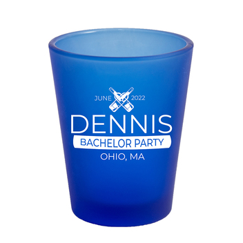 1.75 Oz Frosted Blue Shot Glass with White Imprint Color