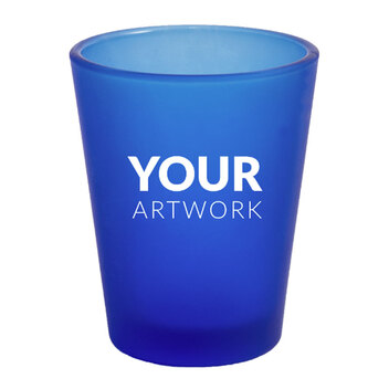 Your Artwork_1.75 Oz Frosted Blue Shot Glass