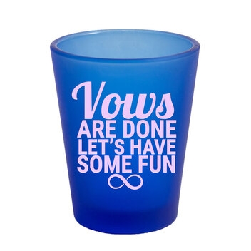 1.75 Oz Frosted Blue Shot Glass with Pink Imprint Color